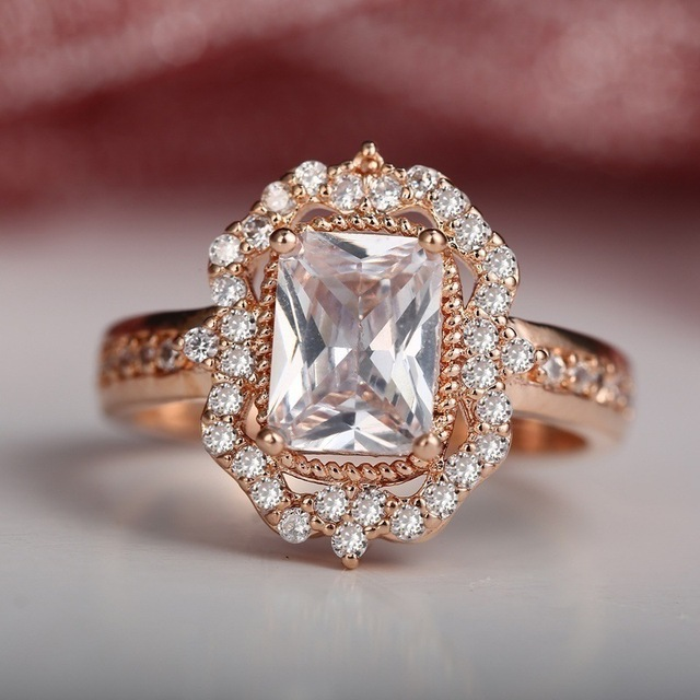 MOONROCY Rose Gold Color Crystal Rings CZ Wedding Ring Vintage Party for Women Girls Gift Jewelry Wholesale Dropshipingg
