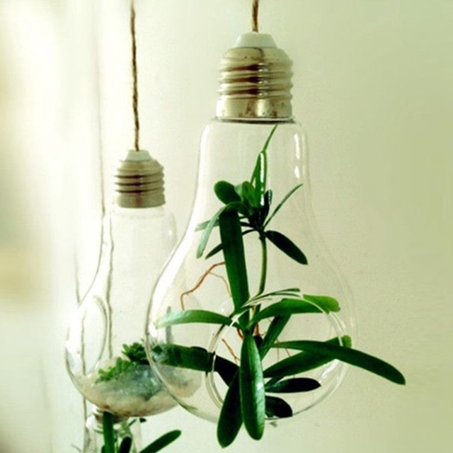Light Bulb Shape Glass Hanging Hydroponic Plant Container Wedding Wall