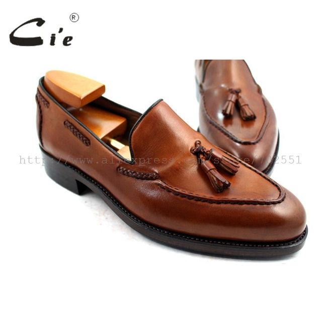 cie Free Shipping Goodyear Welted  Handmade Men's Leather Tassel Color Patina brown Goodyear welted Loafer slip-on shoe No. 32