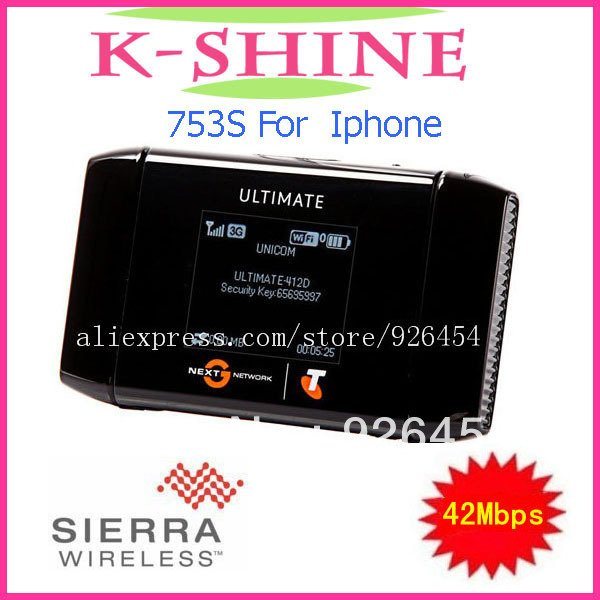 Free shipping Unlocked 42Mbps Wireless Hotspot WiFi Mobile Broadband Modem 3G Router AirCard 753S 3G MiFi Router