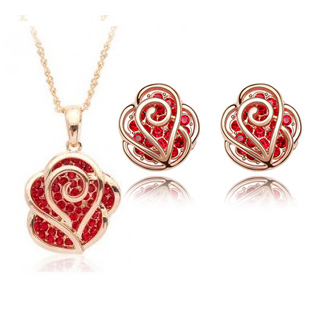 Gift! 2017 Fashion Rose Shaped  Women Jewelry Sets, 2 Colors Studs Earrings and Necklace, Silver A85+B107