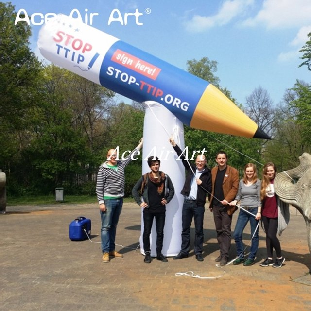 customized logo giant inflatable standing advertising pencil model  for event advertising offered by Ace Air Art