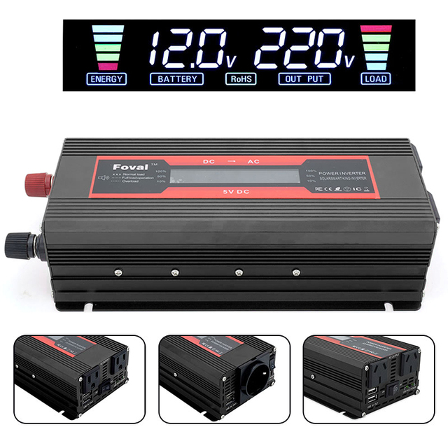 Car Inverter Adapter Aluminium Alloy Charger Portable LED Power Supply Vehicle Modified Sine Wave Converter