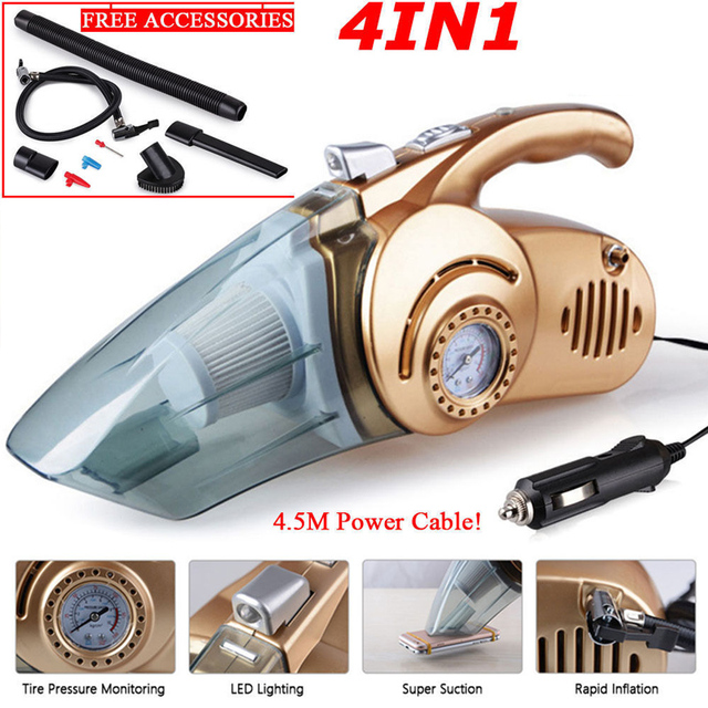 3000mba Handheld  120W 12V Car Vacuum Cleaner 4 in 1 Super Suction Wet And Dry Dual Use Portable Vacuum Cleaner