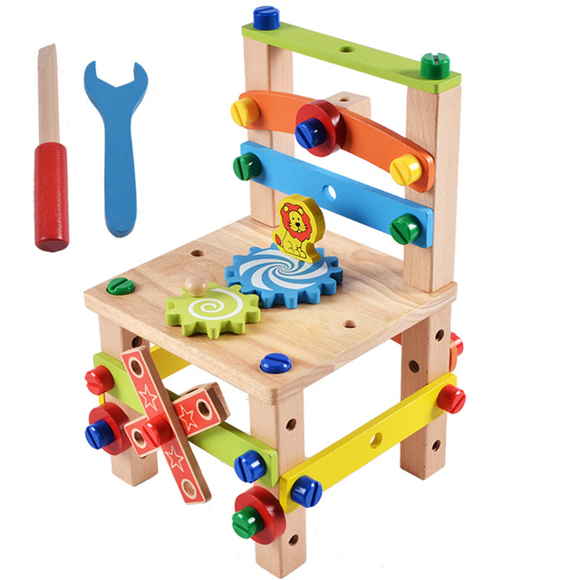 Building Blocks 3D Toys Multicolor Novelty Blocks toys Decor Wooden Wooden Chair Brick toy Building set for Child