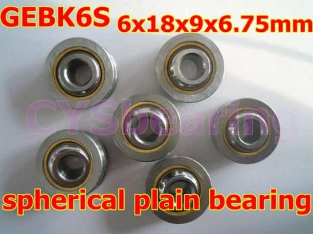 GEBK6S PB-6 radial spherical plain bearing with self-lubrication for 6mm shaft
