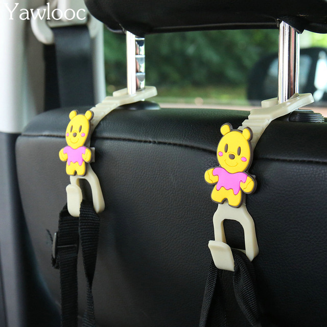 Yawlooc 1 Pair Car Back Seat Hooks Holder For Bag Purse Cloth Flexible Auto Hangers Fixed On Headrest Car Styling Accessories