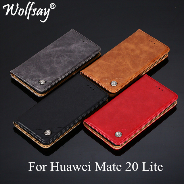 Wolfsay For Huawei Mate 20 Lite Case Triangle Pattern Flip Cover PU leather & Soft TPU Inside Cases for Huawei Mate 20 Lite