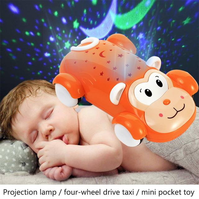 2018 Drop Shipping Projection Toys Fashion Cultivate Interest Projection Car Multicolor Cool Light Monkey Car Hobby