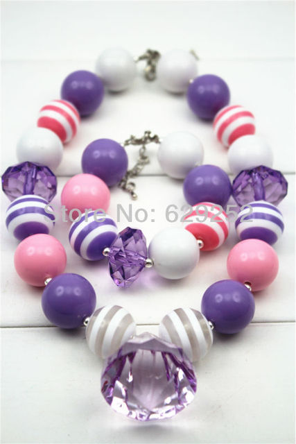 Lots New arrival Pink&Purple chunky bubblegum solid pandent necklace CB063