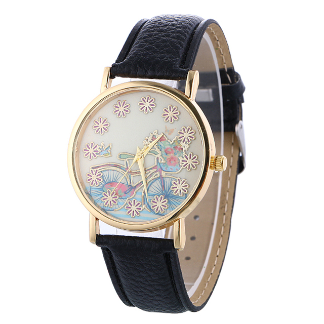 2016 Women Watch Quartz Bracelet Watch wrist watches for women Ladies bicycle pattern leather Clock Gift montres relojes mujer