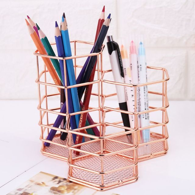Nordic Style Makeup Storage Box Hexagon Case Brush Pen Pencil Holder Desk Organizer Iron Storage Container