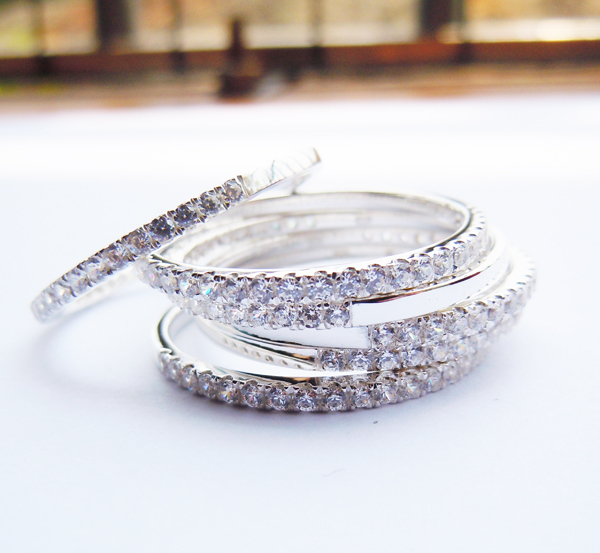 6pcs Set Genuine 925 Sterling Silver Simple CZ Band Ring For Women