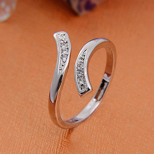 Hot Fashion Charm Women's Natural Silver Plated Adjustable Size Ring 82WC