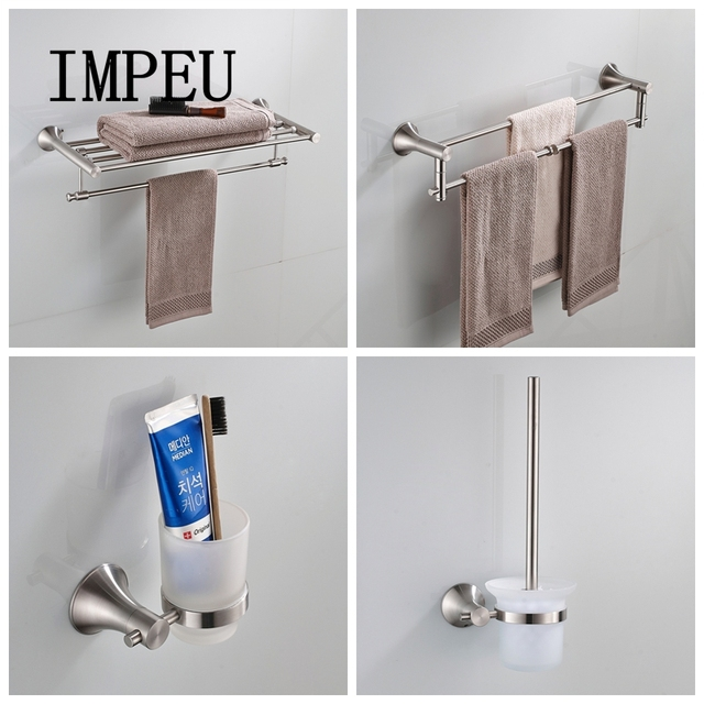 IMPEU Stainless Steel Nickel Brushed Bathroom Accessories Wall Mount Toilet Paper Holder Soap Dish Towel Shelf Bath Hardware Set