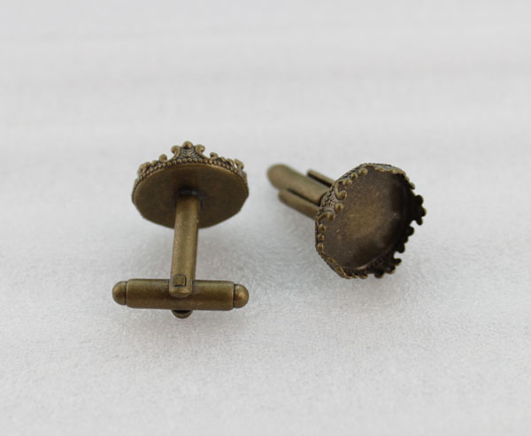 FREE SHIPPING 20PCS Antiqued bronze 15mm crown Cabochon Settings cuff links #23124