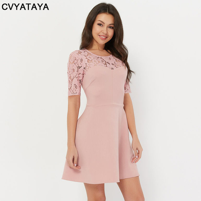 Sweet Girl Pink Lace Stitching Dress Summer Short Sleeves Round Neck A word Woman Dress Solid High Quality Party Mini Dresses