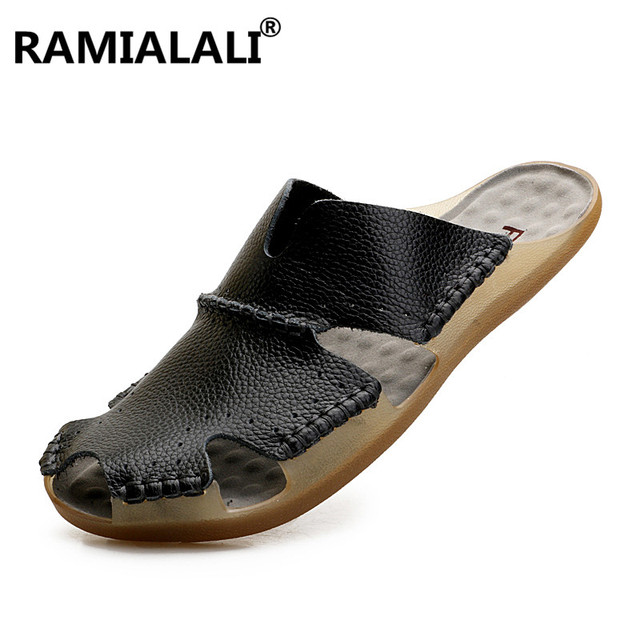 Ramialali New Summer Men Sandals Leisure Beach Men Shoes High Quality Genuine Leather Sandals Men's Leather Slippers