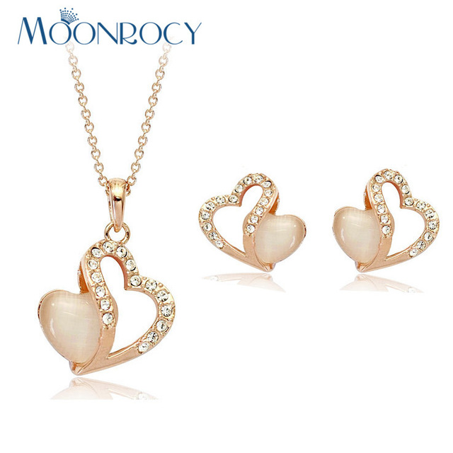 MOONROCY Free Shipping Rose gold Color jewelry set Heart Shape Crystal opal Necklace and Earring Set For women gift