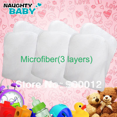 32 Pcs  Latest New High Quality Absorption Microfiber(3 layers) Cloth Diapers Pads Inserts nappy