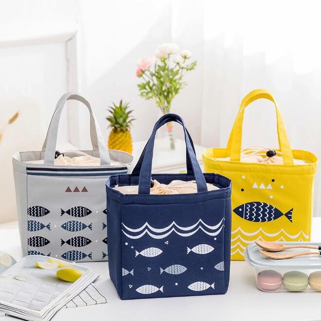 Fresh Insulation Cold Bales Thermal Oxford String Lunch Bag Waterproof Convenient Cute Fish Leisure Bag Cute Cuctas Tote box