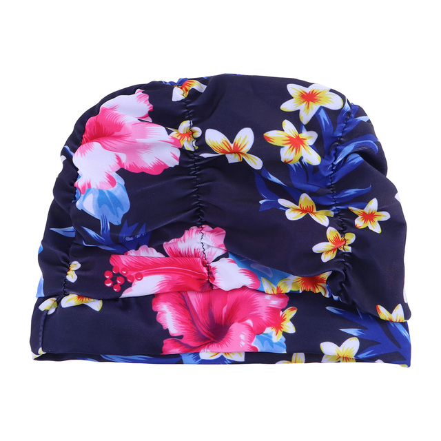 Printing Flower Pleated Ear Protector Swimming Hat Swimming Hat Swimming Cap for Women