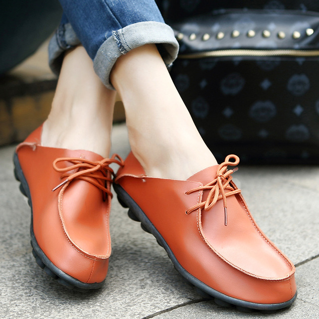 Shoes Woman 2018 Genuine Leather Women Shoes Flats 3 Colors Loafers cow Slip On Women's Flat Shoes Moccasins Plus Size 35-40