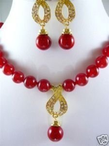 Nobility Red gem STONE necklace pendant earrings sets Wonderful Nobility Fine Wedding Jewelry Lucky Women'snoble lady's