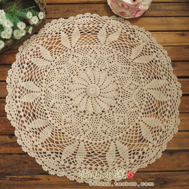 free shipping French beautiful design crochet circle table tablecloth lace table cover towel  cutout decoration white 55cm