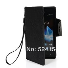 Card Holder Slot  WALLET FLIP LEATHER POUCH COVER CASE LITCHI SKIN PROTECTOR For SONY XPERIA J ST26I Accept Wholesale