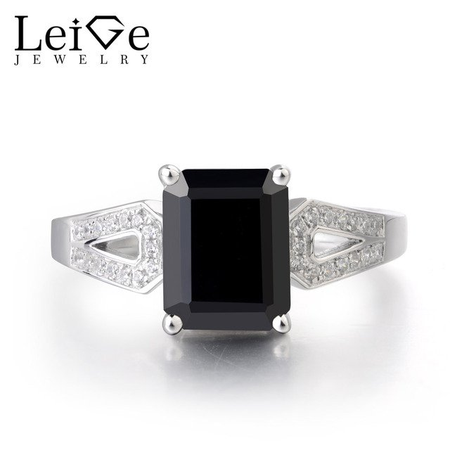 Leige Jewelry Real Black Spinel Gemstone 925 Sterling Silver Emerald Cut Wedding Rings For Woman Fine Jewelry