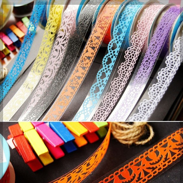 2 Rolls 1 meters PaperLace Decorative Sticky Craft DIY Scrapbooking Adhesive Paper Sticker Tape Decor Gift Packing Accessories