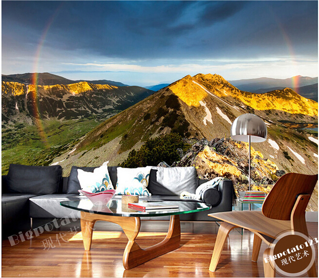 The latest 3D murals, mountain sunrise sunshine aesthetic scenery de parede Papel, the living room TV sofa bedroom wall paper