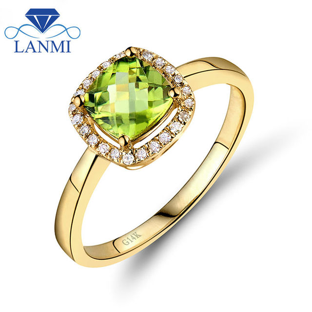 Lord Of Cushion 6mm 14kt Yellow Gold Natural Peridot Engagement Ring Diamond Jewelry for Women Gift SR333