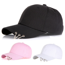 Stylish Solid color Crooked brim duck hats women's fashion Metal ring decoration baseball cap men's adjustable hip hop hat