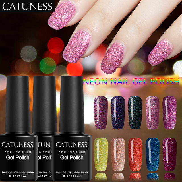 CATUNESS Permanent Neon UV Gel Polish Soak Off Supplies for Professional Nail Gel Polish Glitter Colorful Paint Nail Hardener