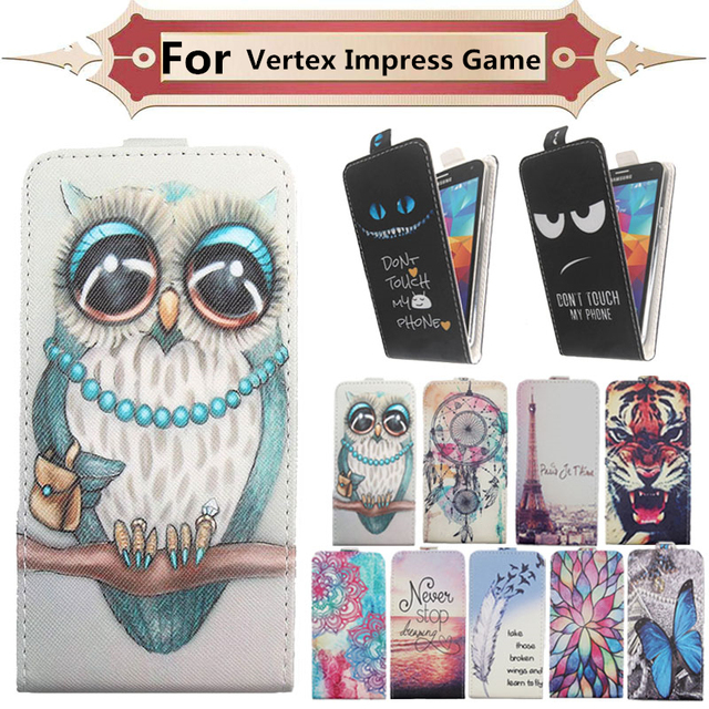 Fashion 11 Colors Cartoon Pattern Up and Down Flip PU Leather Case For Vertex Impress Game