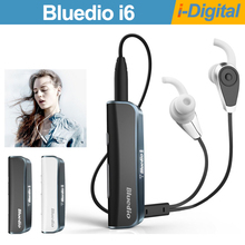 Original Bluedio i6 Bluetooth Earphone Stereo Wireless Belt Clip Headphone with Display Sport Music Earphones for iPhone Samsung