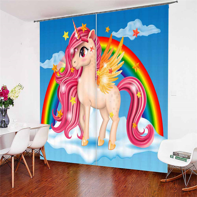 3D Window Curtains Cartoon Unicorn Print for Living Room Bedding Room Home Decor Tapestry Wall Carpet Drapes Cotinas #DJS19