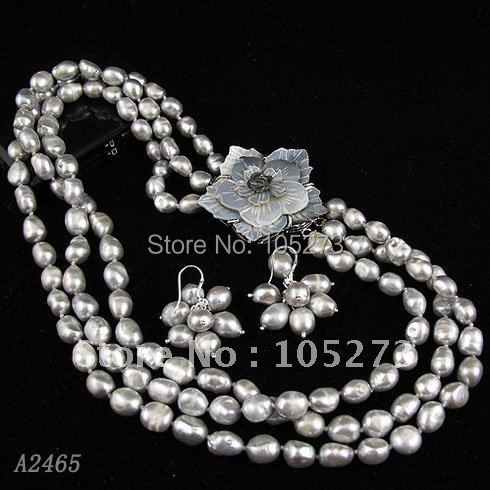 Charming!pearl jewelry set 3rows AA 7-8mm gray color Genuine freshwater pearl necklace earring flower clasp free shipping A2465a