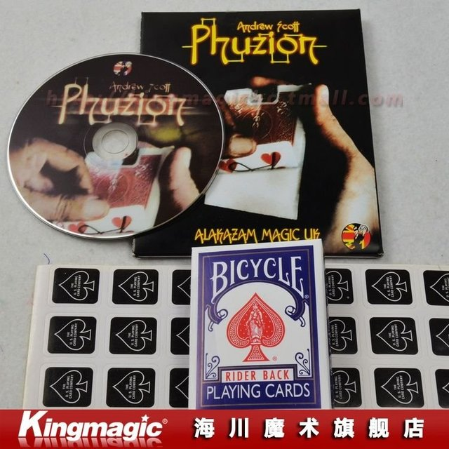 Phuzion (with DVD) by Andrew Scott and Alakazam/card disappering/magic toys/magic tricks/magic props/as seen on tv/Free shipping