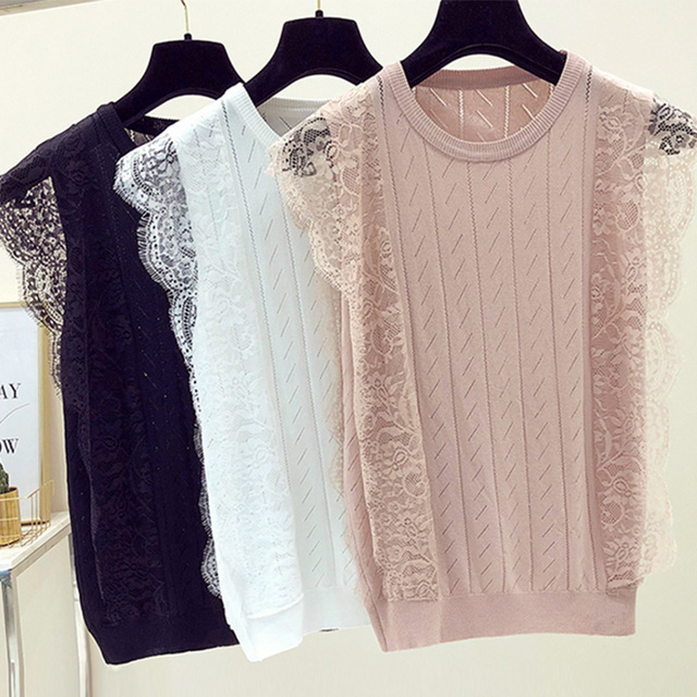 2018 New Summer Women Mesh Sexy Black Crop Top T Shirt Sleeveless O-Neck Solid Lace Knitted Tops Tees Female Hollow Out Camis