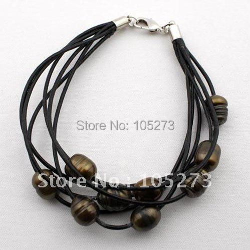 Baroque Pearl Bracelet Brown Color Freshwater Pearl on Leather Cords 8''inchs size:10-12mm Fashion Jewelry Free Shipping FN346