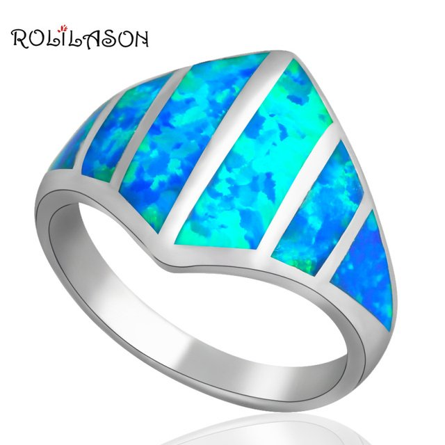 Popular New Arrival Product Wholesales Blue Fire Opal Silver Stamped wedding Rings for women Opal jewelry USA SZ #7 #7.5 OR518A