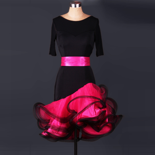 New style Latin dance costume sexy spandex half sleeves latin dance dress for women latin dance competition dresses S-4XL L048