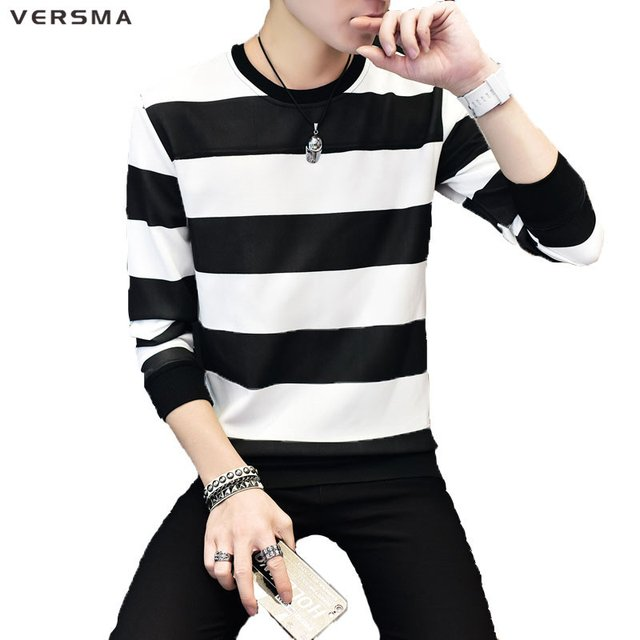 VERSMA New Hip Hop Male Fashion Brand-clothing Hoodies Sweatshirts Men Slim Fit Long Sleeve Stripe Men Plus Size Sweatshirts 5XL