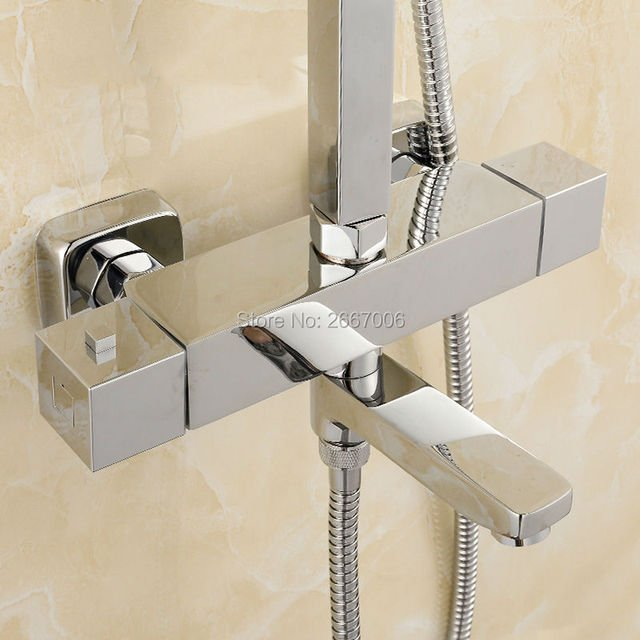 Free Shipping Square wall mounted bathtub faucet Swivel Spout Dual Handle thermostatic shower Temprature Control Valve Tap ZR966