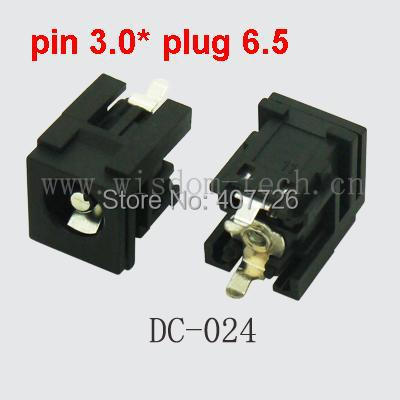 Free shipping 100/pcs DC connector tablet female DC power jack 12V  pin3.0*plug6.5 for laptop notebook