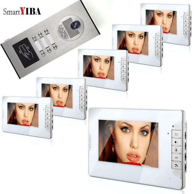 SmartYIBA Video Intercom 7 Inch Monitor Video Door Phone Doorbell Kit Night Vision RFID Access Doorbell Camera For 6 Apartment