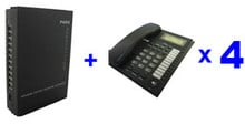 free shipping-PBX / MINI PABX system SV308( 3 Lines +8 Ext Users ) and 4pcs telephone set -for soho businss solution